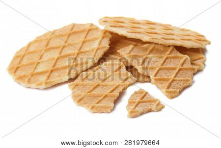 Heap Of Belgian Waffle Chips Isolated On White Background