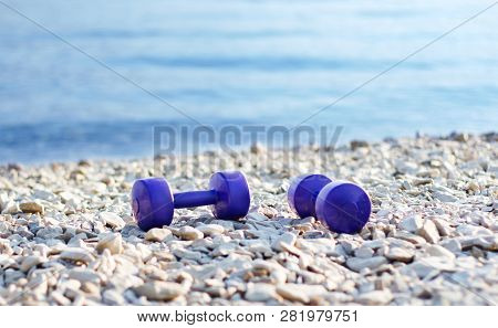 Two Purple Dumbbells On Stone Sea Beach At Morning