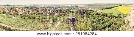 Drazovce Village And Industrial Park, Nitra, Slovak Republic. Springtime Panoramic Scene. Landscape