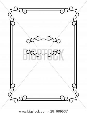 Vintage Calligraphic Rectangle Frame With Ornamental Corners And Flourish Vignette, Swirly Embellish