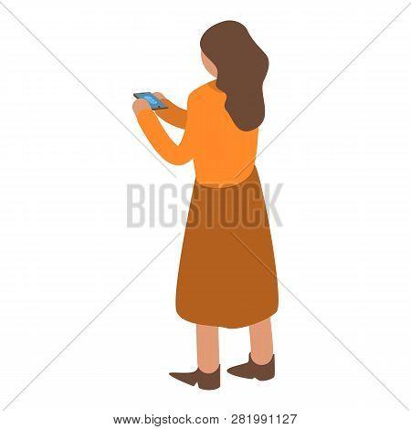 Woman Buy Online Smartphone Icon. Isometric Of Woman Buy Online Smartphone Vector Icon For Web Desig