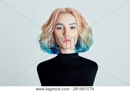 Portrait Woman With Bright Colored Flying Hair, All Shades Purple Blue. Hair Coloring, Beautiful Lip