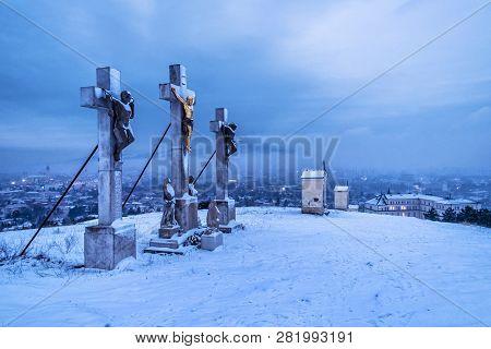 Calvary In Nitra City, Slovak Republic. Religious Place. Winter Evening Scene. Travel Destination.