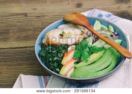 Stewed Chard With Apples, Avocado, Fish And Salad Of Cucumbers, Onions. Aip Breakfast, Dinner Or Lun