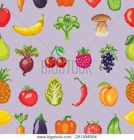 Fruits pixel vegetables vector healthy nutrition of fruity apple banana and vegetably carrot for vegetarians eating organic food illustration vegetated set diet background pattern poster