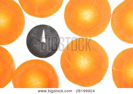 Conceptual Image Of Drawing Pin (bad Bacteria) Among Carrot Slices