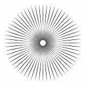 Rays, beams element. Sunburst, starburst shape on white. Radiating, radial, merging lines. Abstract circular geometric shape poster