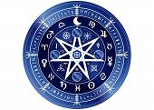 Wiccan symbol of protection. Blue Mandala Witches runes and alphabet, Mystic Wicca divination. Ancient occult symbols, Earth Zodiac Wheel of the Year Wicca Astrological signs, vector isolated or white background poster