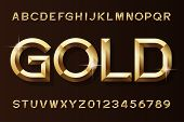 Gold alphabet font. 3d beveled gold effect letters and numbers. Stock vector typescript for your design. poster