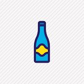 illustration of champagne icon colored line. Beautiful holiday element also can be used as fizz icon element. poster