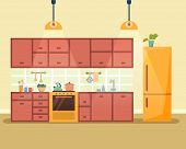 Kitchen interior with furniture, stove, cupboard, fridge and utensils. Flat cartoon style vector illustration. poster