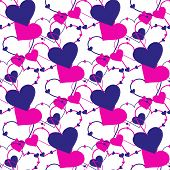 Seamless vector hand drawn heart pattern. Repetitive background. poster