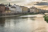 SUNSET ON THE RIO ARNO IN FLORENCE ITALIA IN THE FUND THE VECCHIO BRIDGE poster