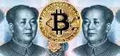 Cryptocurrency Bitcoin and portrait of Mao Zedong from Chinese yuan banknote. Business concept of new virtual money poster