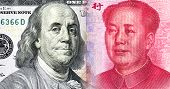 Portrait of Benjamin Franklin against Mao Zedong, 100 US dollars and 100 Chinese yuan poster