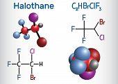 Halothane general anesthetic drug molecule. Structural chemical formula and molecule model. Vector illustration poster