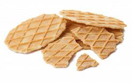 Heap Of Belgian Waffle Chips Isolated On White Background