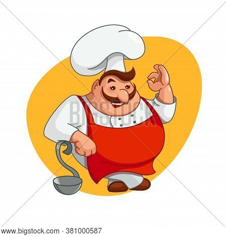 Chef Illustration. Smiling Man Character On Kitchen In Chefs Hat. Cooking Tasty Food, Ok Hand Gestur