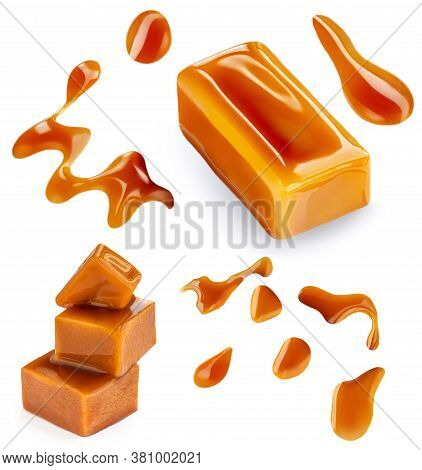 Sweet Caramel Set With Melted Sauce And Caramel Candies Isolated On White Background. Top View. Flat
