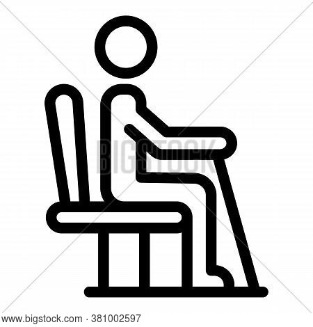 Senior Man Sit Chair Icon. Outline Senior Man Sit Chair Vector Icon For Web Design Isolated On White