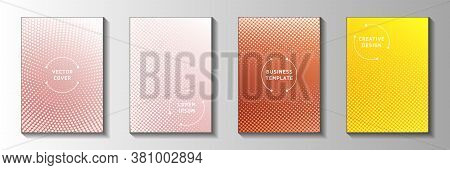 Futuristic Dot Faded Screen Tone Front Page Templates Vector Series. Industrial Booklet Perforated S