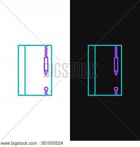 Line Underwater Note Book And Pencil For Snorkeling Icon Isolated On White And Black Background. Wat