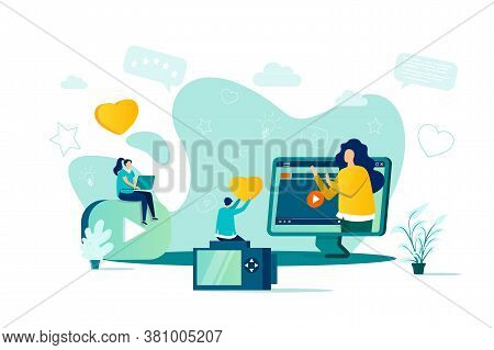 Bloggers Concept In Flat Style. Online Stream Watching Scene. Content Production For Social Media, E