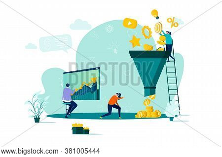 Marketing Funnel Concept In Flat Style. Marketers Processing Data Scene. Marketing Research, Strateg