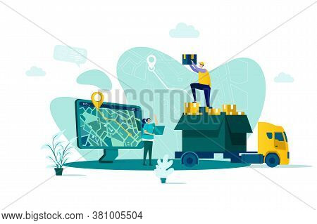 Online Delivery Concept In Flat Style. Courier Delivery At Home Scene. Express Delivery Service, Glo
