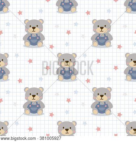 Cute Little Bear Seamless Pattern. Lovely Teddy