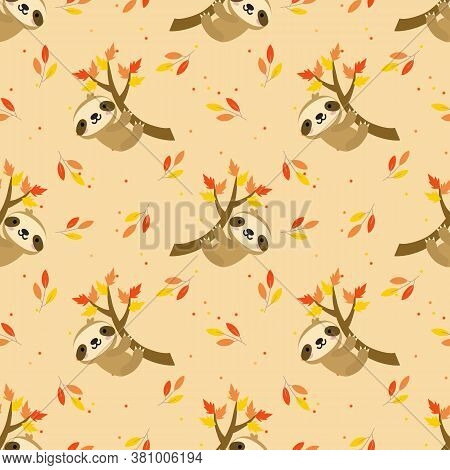 Cute Sloth In Autumn Leaves Seamless Pattern