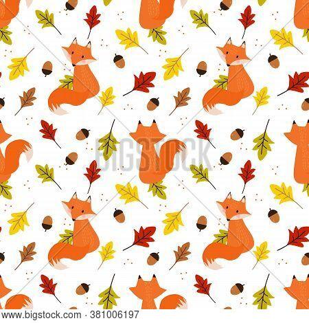 Cute Fox In Autumn Leaves Seamless Pattern