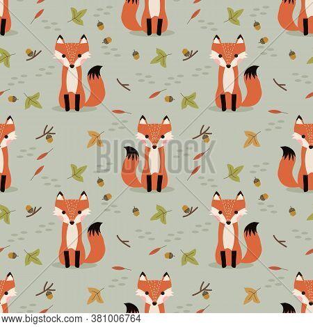 Cute Fox And Autumn Seamless Pattern. Autumn Theme