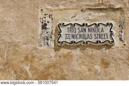 Street Sign In The City Of Mdina That Was Founded As Maleth In Around The 8th Century Bc By Phoenici