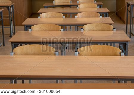 Empty School Desk In School Classroom. Safety In Schools During A Pandemic
