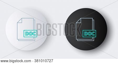 Line Doc File Document. Download Doc Button Icon Isolated On Grey Background. Doc File Extension Sym