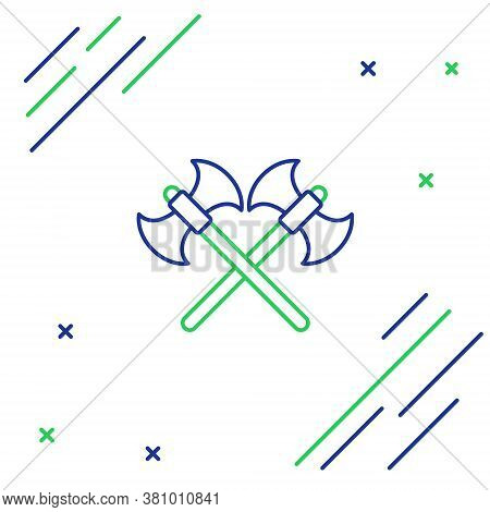 Line Crossed Medieval Axes Icon Isolated On White Background. Battle Axe, Executioner Axe. Colorful
