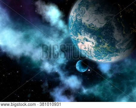 3D render of an abstract space sky with planets and nebula