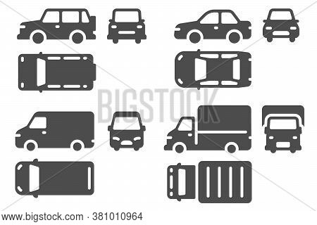 Car Top Side And Front View. Vehicle Projection, Suv, Minibus And Truck Auto Icons For Web, Ui Desig