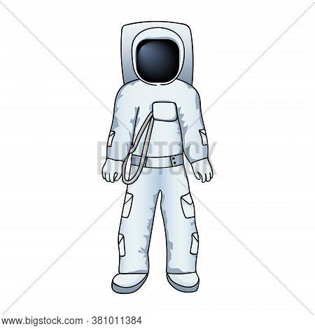 Astronaut In A Spacesuit In Cartoon Style. Hand Drawing. Vector Illustration.