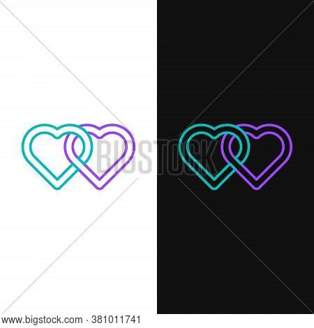 Line Two Linked Hearts Icon Isolated On White And Black Background. Romantic Symbol Linked, Join, Pa