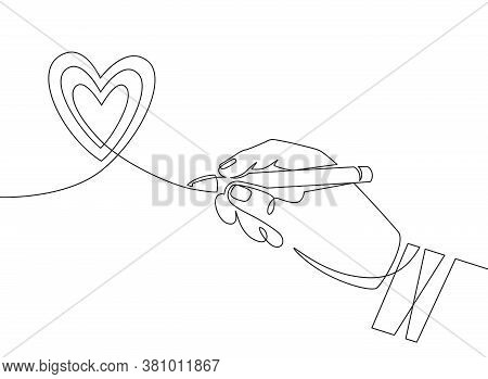 Hand Pen And Heart. Continuous One Line Hand Drawing Heart Scribble Sign. Minimal Outline Love Symbo