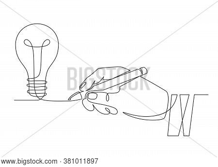 Light Bulb Idea. Sketch Hand With Pen Drawing One Line Bulb, Invention Or Creative Thinking Symbol.