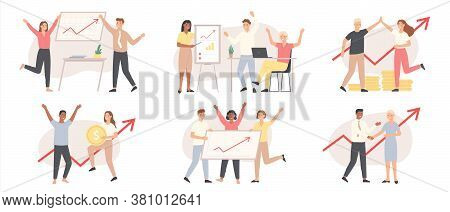 Business People Increase Financial Chart. Investment, Financial Teamwork Success. Growth Presentatio