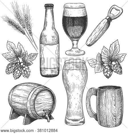Hand Drawn Beer. Sketch Beer Glasses, Mugs And Barrel, Bottle. Hops, Malt And Barley, Objects For Pu
