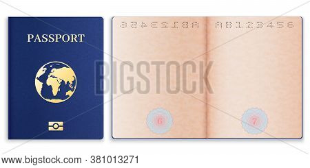 Passport Mockup. Realistic Blank Open Pages Paper With Watermark Foreign Passport, Document Cover Wi