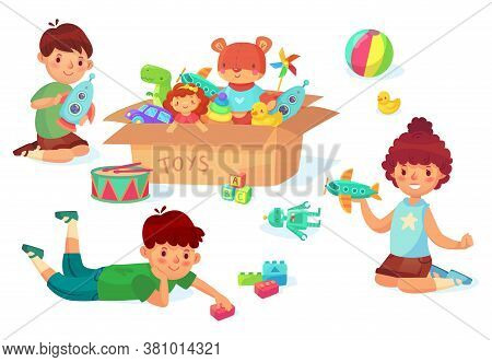 Children Playing With Toys. Boy Holding Rocket In Hands, Guy With Bricks. Girl Playing With Airplane