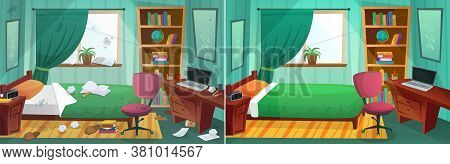 Room Before And After Cleaning. Comparison Of Messy Bedroom And Clean Kid Bedroom. Home Interior Aft