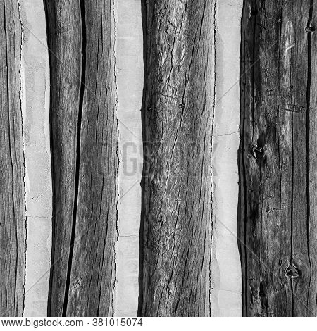 Black And White Wood Texture  With Cement Of Lumber With Concrete Cement Ridges For Backgrounds And