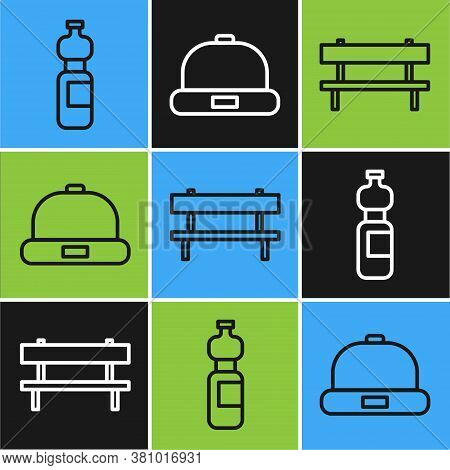 Set Line Bottle Of Water, Bench And Beanie Hat Icon. Vector